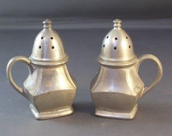 Pewter Salt and Pepper Shakers Marked KROYDON PEWTER