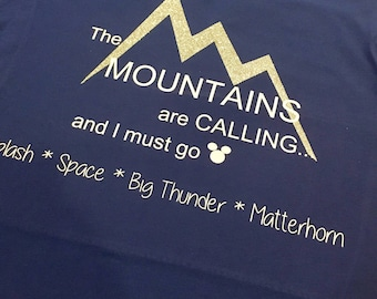The Mountains Are Calling blue soft tee
