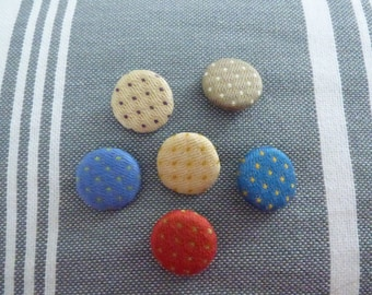SET OF 6 BUTTONS IN 6 DIFFERENT COLORS COTTON