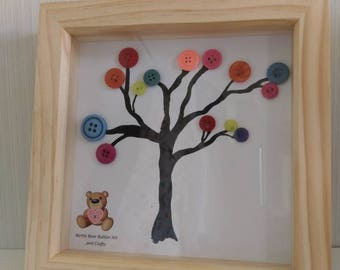 Framed button art tree in bright colours