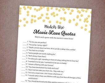 Movie Love Quote Match Game, Gold Confetti Match the Romantic Movies Trivia, Movie Love Quote Match, Gold Glitter Wedding Shower, A001
