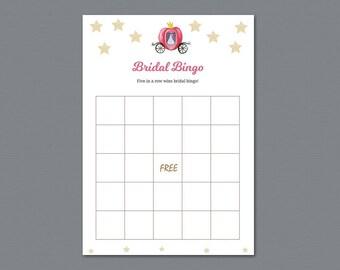 Cinderella Bridal Shower Bingo Game Cards, Disney Fairytale, Bachelorette Bingo, Bridal Shower Games, Instant Download, Wedding Bingo, A012
