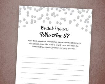 Who Am I Bridal Shower Games Printable, Silver Confetti Memory With the Bride Game, DIY Bachelorette Party Games, Instant Download, A003