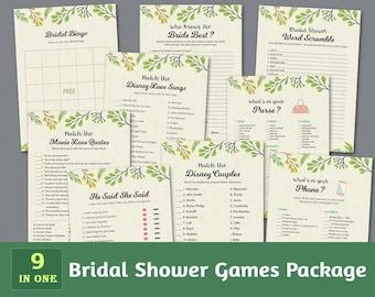 Fun Bridal Shower Games Package, Botanical, Bridal Shower Activity, Plants, Leaf, Veins, Unique Games Pack, Shower Bundle, BSPKG, A011
