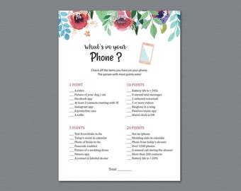 Whats in Your Phone Game Printable, What's on Your Phone Bridal Shower Game, Watercolor Floral, Cell Phone Game , Instant Download, A007