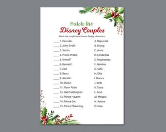 Christmas Disney Couples Match Game, Match Disney Couples, Bridal Shower Game Printable, Festival Holiday, Famous Couples Match Game, A025