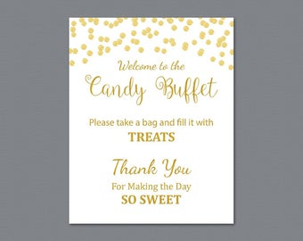 Candy Buffet Sign, Printable Candy Bar Sign, Gold Confetti Wedding Table Sign, Grab a Treat Sign, Baby Shower, Bridal Shower Decor, A002
