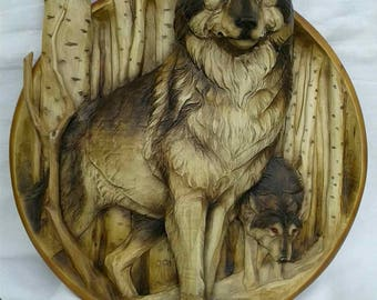 3D wooden carving plate, home decor, wolves