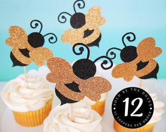 Bumble Bee Cupcake Toppers Bee Gender Reveal Bumble Bee Baby Shower Bumble Bee Birthday Mommy To Bee Party What Will It Bee Baby Shower