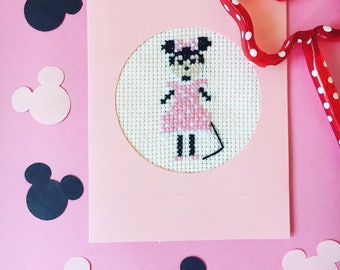 Minnie Mouse Cross Stitch Card