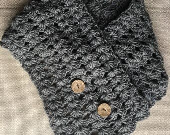 Cowl, scarf, gray scarf, crocheted scarf, gift for her