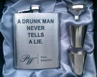 A Drunk Man Never Tells A Lie Flask // Engraved Flask // His Gift  // Fun Flask // Party Favor // Men Flask // 21st Birthday Gift // 7oz