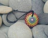 Chakra Mandala Stone Necklace - Rainbow Mandala Rock - Paint Rock - Meditation Mandala - Dot Art - Paint Stone - Namaste - Boho Necklace