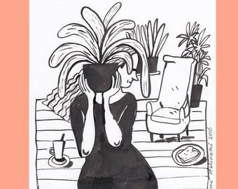 Girl with plant original ink drawing