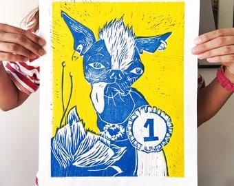 The Ugliest Dog Contest Winner linoprint (yellow)