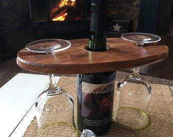 Wood wine caddy, wine gift, wine carrier, wine glass holder