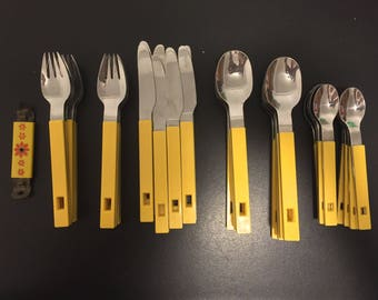 Vintage Mod Flatware / Silverware / Utensils - Yellow - 32 Piece Set