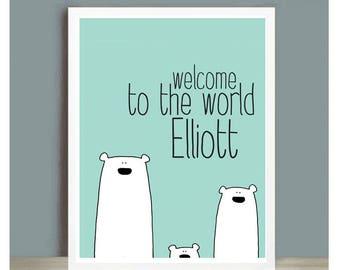 Welcome to the world - Newborn baby card - Polar Bears
