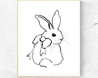 Rabbit Minimalist Watercolour Fine Art Print, Woodlands Nursery, Wall Decor, Baby Animal Print, Printable Bunny, Digital Download