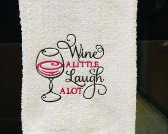 Embroidered Wine Themed towel