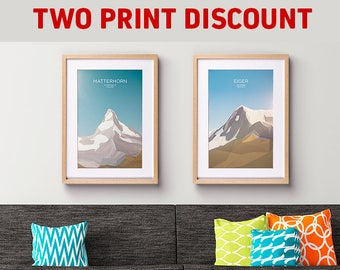 Two Mountain Art Prints of your choice discounted! (Unique Gift, Housewarming Present, Birthday Gift)