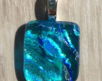 Dichroic Fused Glass Pendant - Small Aqua Blue Ripple Pendant
