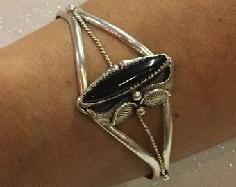 Sterling Silver Native American Black Onyx Cuff Bracelet
