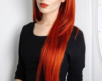 100% Virgin Remy Straight Human Hair Lace Frontal Wig with Fringe Bang and custom Red Copper Ginger hair color