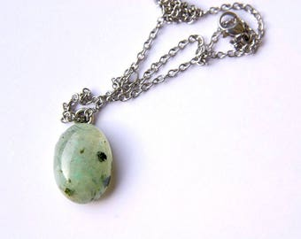 Prehnite Pendant, Prehnite Jewelry, Stainless Steel Chain, Prehnite Necklace, Prehnite Gemstone, Crystal healing