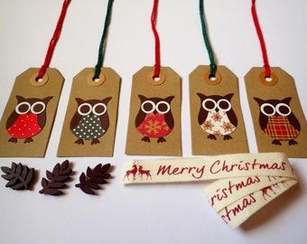 Christmas Gift Tags - Handmade Gift Tags - Set of 5 Christmas Gift Tags - Gift Tags - Christmas Owl Gift Tags - Xmas Present Tags - Tags