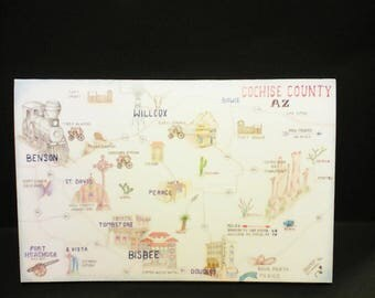COCHISE COUNTY Map Greeting Card