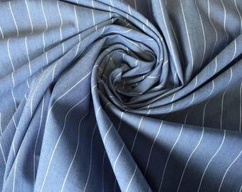 Blue Pinstripe Stretch Fabric - 53 Inches Wide