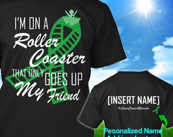 Personalized Liver Adrenal Cancer Awareness Tshirt Green Ribbon Roller Coaster Support Survivor Custom T-shirt Unisex Women Youth Kids Tee