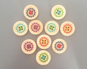 20x 20mm Round Wood Flower Print 4-Hole Concave Buttons / Round Fasteners Findings / Craft Supplies Dressmaking Scrapbooking Sewing