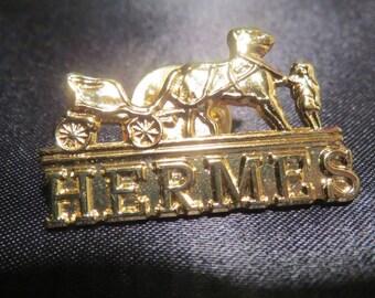 HERMES Paris Designer Pin Brooch Badge Goldtone
