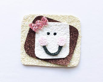 Glitter s'more hair clip OR headband