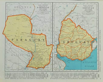 1942 Paraguay/Uruguay Map - Vintage Map - Mid Century Map - Antique Paraguay/Uruguay Map - Vintage South America Map - Maps - 33/070817