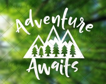 Adventure Awaits Mountains with Trees - Car decal - Window decal - Laptop decal - Tablet decal - travel, hiking