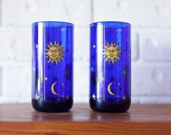 Set of Two Cobalt Blue Libbey Moon Star Celestial Glass Tumblers