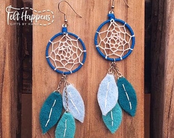 Dream Catcher Earrings - Felt Jewelry - Handmade Jewelry - Accessories  - Gift By Hand