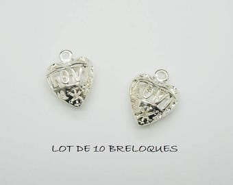 Set of 3 3D filigree heart charms love Silver (D28)