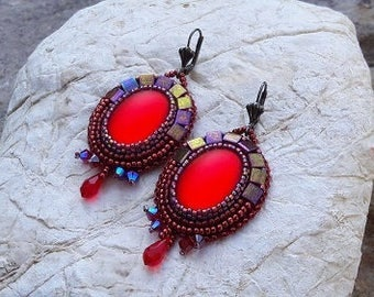 Ruby bead embroidery earrings