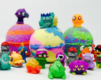 Sale! 3 or 5 7 oz Monster Creatures Birthday / Easter Party Bath Bomb Favor Set with Figures Toy Inside. Natural ingredients, Homemade