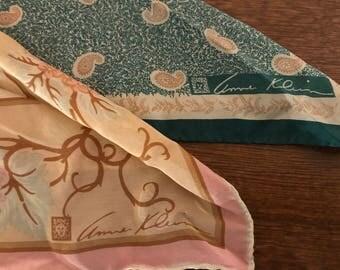 2 Vintage Anne Klein Silk Scarves