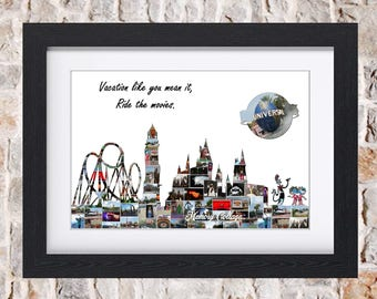 Universal Studios Theme Park Skyline Wall Art Digital or Fine Art Photo Collage