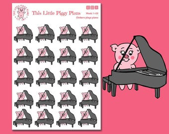 Oinkers Plays the Piano Planner Stickers - Piano Stickers - Music Planner Stickers - Music Lesson - Piano Lesson - Teach Music - [Mus 1-03]