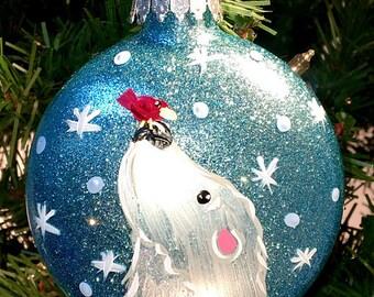 Polar Bear Painted Glitter Ornament - Polar Bear Ornament, Polar Bear Gift,  Polarbear Bear Ornament Christmas Ornament Animal Ornament