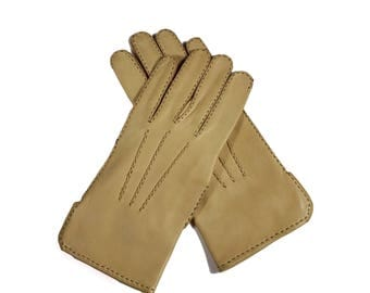 Vintage Tan Leather Gloves Size 7