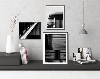 3 Black And White Printables Set, Black And White Gallery Wall, Modern Black And White Wall Art Set, Minimal Black And White Wall Art