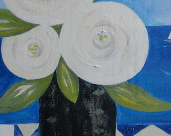 Modern floral painting blue and white original acrylic on canvas board seaside beach wedding gift Cornish blue 10 x 12 inches UNFRAMED art
